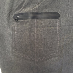 Detail image of waterproof zipper on side short leg
