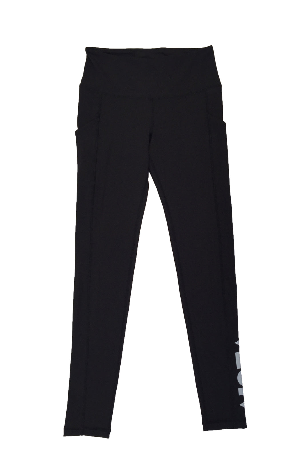 Black fitted womenʻs leggings for workout, aerobics or surfing with a silver Aloha Shapes® logo on bottom outside of left leg