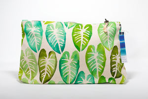 Clutch purse hand painted in Maui, Hawaii with taro leaves in shades of green