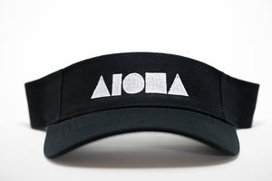 Adult visor in black embroidered with white ALOHA Shapes ® logo