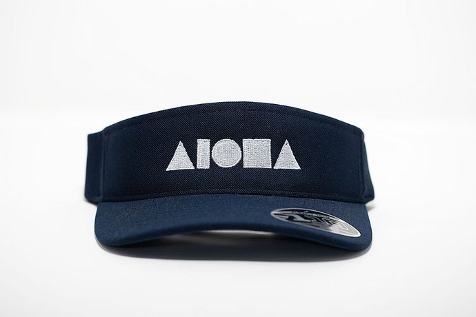 Navy blue Flexfit adult visor embroidered with white Aloha Shapes® logo