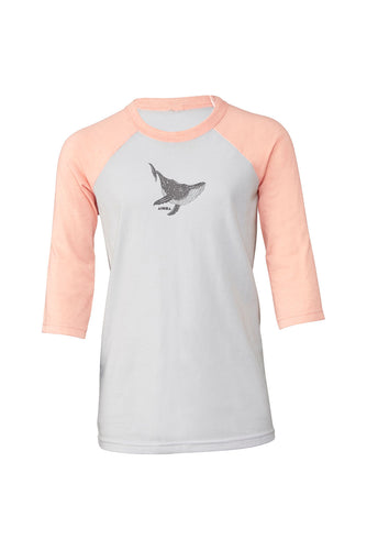 Peach and white Youth baseball tee hand-screen printed with a humpback whale and Aloha Shapes® logo in metallic grey