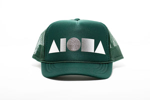 Forest green youth trucker hat foil printed with metallic silver Aloha Shapes ® logo. Designed in Maui, Hawaii