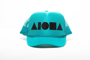 Jade green adult foam trucker hat foil printed with black sparkle Aloha Shapes logo