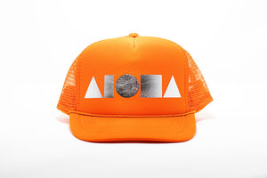 Orange youth trucker hat foil printed with metallic silver Aloha Shapes ® logo. Designed in Maui, Hawaii
