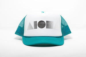 Teal and white youth trucker hat foil printed with metallic silver Aloha Shapes® logo. Designed in Maui, Hawaii