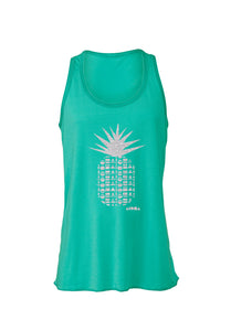 Teal youth tank top printed with metallic silver Repeat Pineapple design. Made in Maui, hawaii