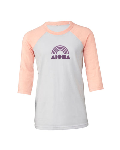Peach and white Aloha Shapes® Rainbow youth baseball t-shirt printed in metallic purple