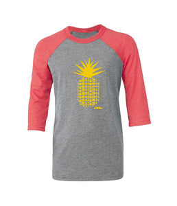 Repeat Pineapple Red & Yellow Youth 3/4 Sleeve Baseball T-shirt