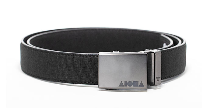 Black canvas Aloha Shapes® Mission belt with gunmetal buckle