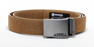 Desert tan canvas Aloha Shapes® Mission Belt with gunmetal buckle