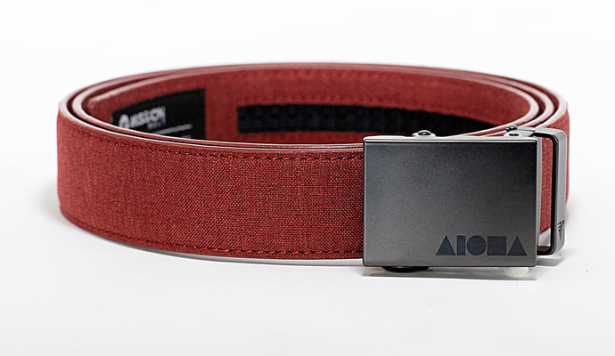 Sangria red canvas Aloha Shapes ® mission belt with gunmetal buckle