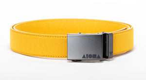 Yellow canvas Aloha Shapes ® Mission Belt with gunmetal buckle