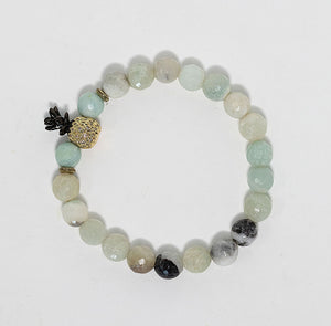 Amazonite beaded bracelet with pineapple charm handmade in Maui, Hawaii