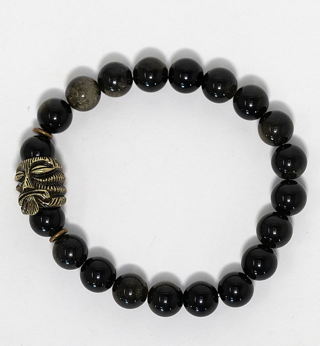 Obsidian gemstone beaded bracelet with bronze tiki charm handmade in Maui, Hawaii