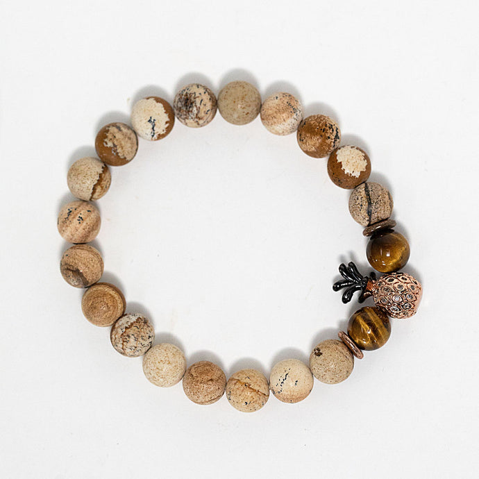 Picture jasper gemstone beaded bracelet with pineapple charm handmade in Maui, Hawaii