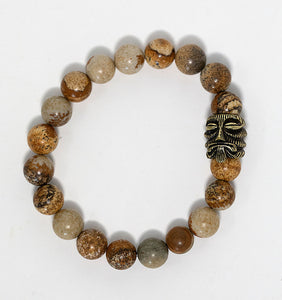 Picture jasper gemstone beaded bracelet with tiki charm handmade in Maui, Hawaii