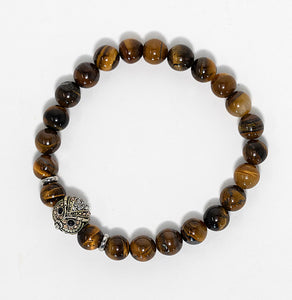 Tigers eye gemstone beaded bracelet with sterling silver owl charm handmade in Maui, Hawaii