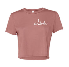 Womens flowy crop top. Mauve color with Aloha written in white cursive on left front chest.