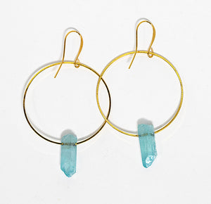 Light blue quartz crystal points on gold plated hoops handmade in Maui, Hawaii