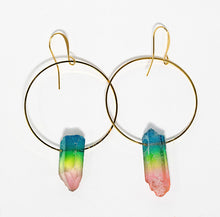 Rainbow colored quartz crystal points on gold plated hoop earrings handmade in Maui, Hawaii