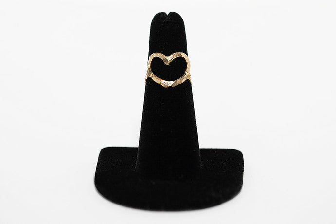 14 karat gold fill hand-hammered heart ring made in Maui, Hawaii