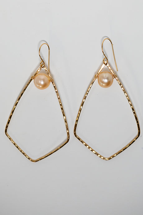 Gold fill diamond shape hoop earrings with pink edison pearls handmade in Maui, Hawaii