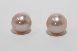 pink Edison pearl stud earrings handmade in Maui, Hawaii