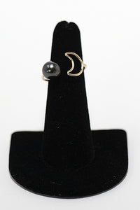 Gold Fill handmade ring with Tahitian pearl and moon shape. Handmade in Maui, Hawaii