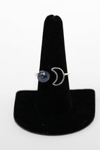 Sterling silver ring with Tahitian pearl and moon shape handmade in Maui, Hawaii