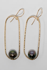 Gold fill oval hoop Tahitian pearl earrings handmade in Maui, Hawaii