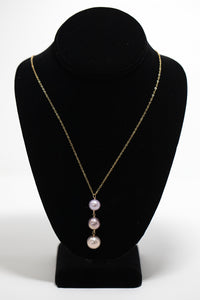 Triple drop of Pink edison pearls on gold fill necklace