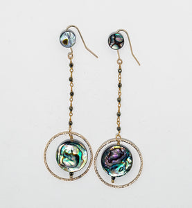 Rah Designs Labradorite & Abalone Shell Dangling Ring Drop Earrings