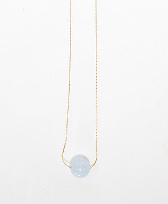 Aquamarine gemstone solitaire on 14 karat gold fill necklace handmade in Maui, Hawaii