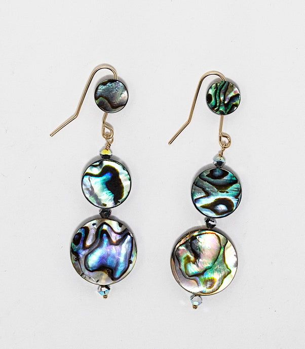 Rah Designs Pyrite & Abalone Shell Triple Descending Disc Dangle Earrings