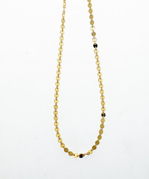 Super sparkly necklace made of thin 14 karat gold fill discs. Handmade in Maui, Hawaii