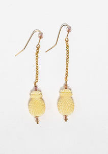 Pineapple beads carved from vintage ivory up cycled into earrings Handmade in Maui, Hawaii