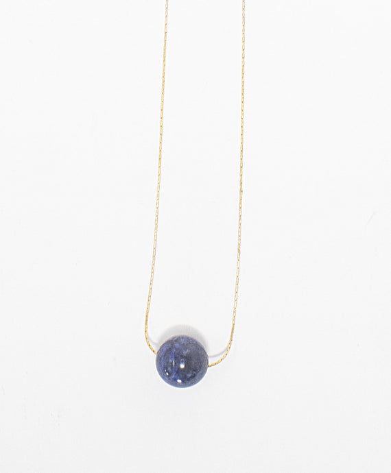 Lapis gemstone solitaire necklace on 14 karat gold fill chain. Handmade in Maui, Hawaii
