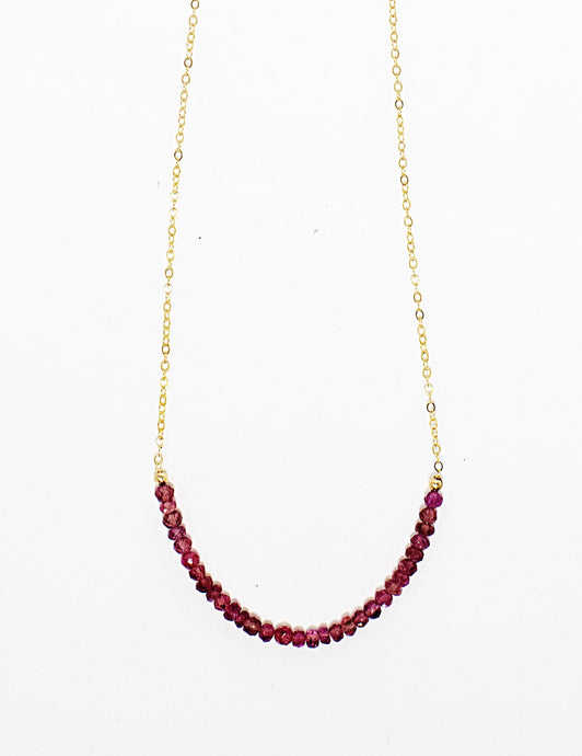 Dainty choker necklace of pink tourmaline gemstone beads on 14 karat gold fill chain Handmade in Maui, Hawaii