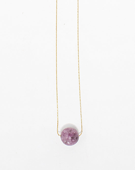 Pink tourmaline gemstone solitaire on 14 karat gold fill chain. Handmade in Maui, Hawaii