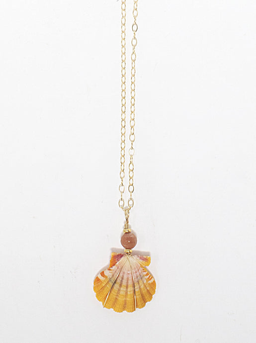 Hawaiian sunrise shell pendant with pink moonstone gemstone bead on 14 karat gold fill chain. Handmade in Maui, Hawaii