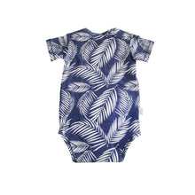 Blue babies onesie with tropical palm fronds in white. Designed in Hawaii. Made in Bali