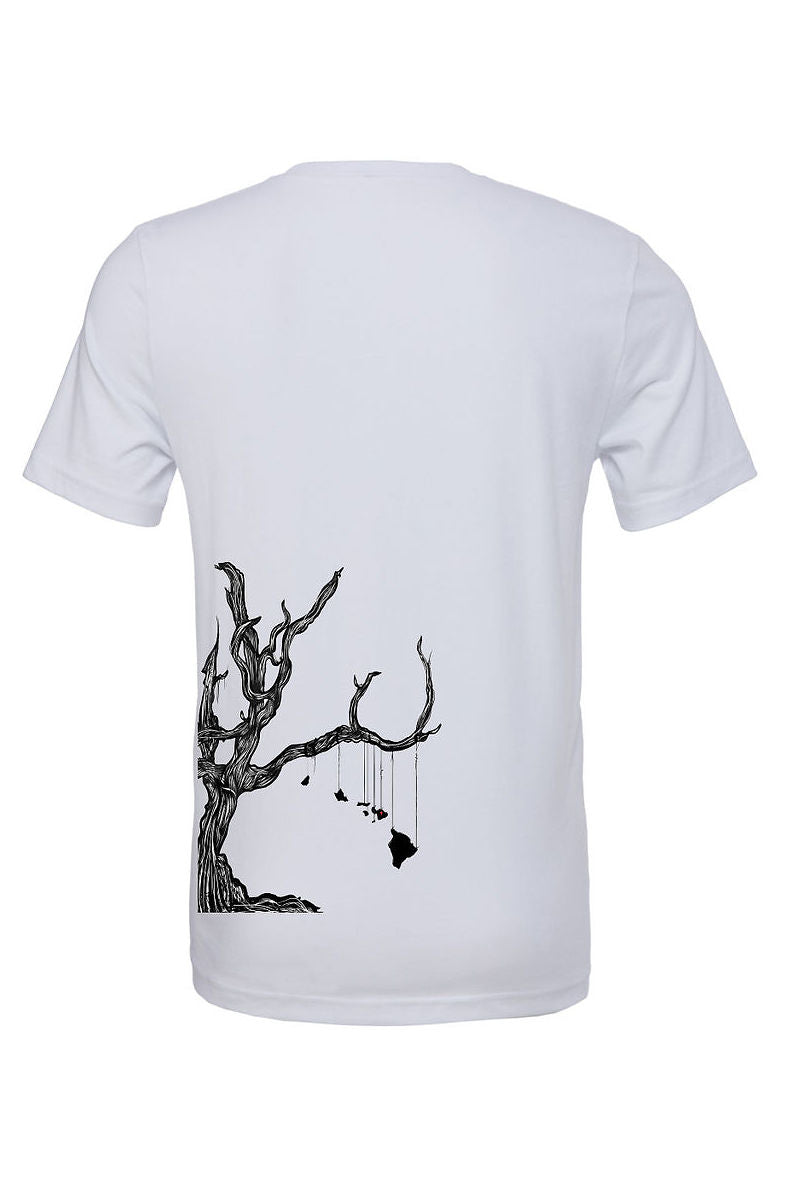 Silver unisex t-shirt with Giving Tree design on back with Hawaiian islands hanging from branch