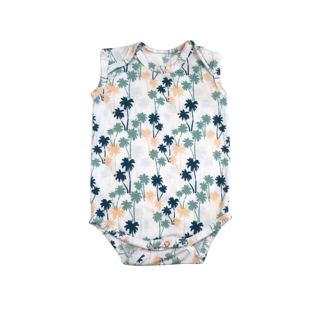 Palm tree print babies sleeveless onesie designed in Maui, Hawaii