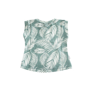 Jade green bamboo fabric toddler tee printed with white tropical palm fronds. designed in Hawaii. Made in Bali