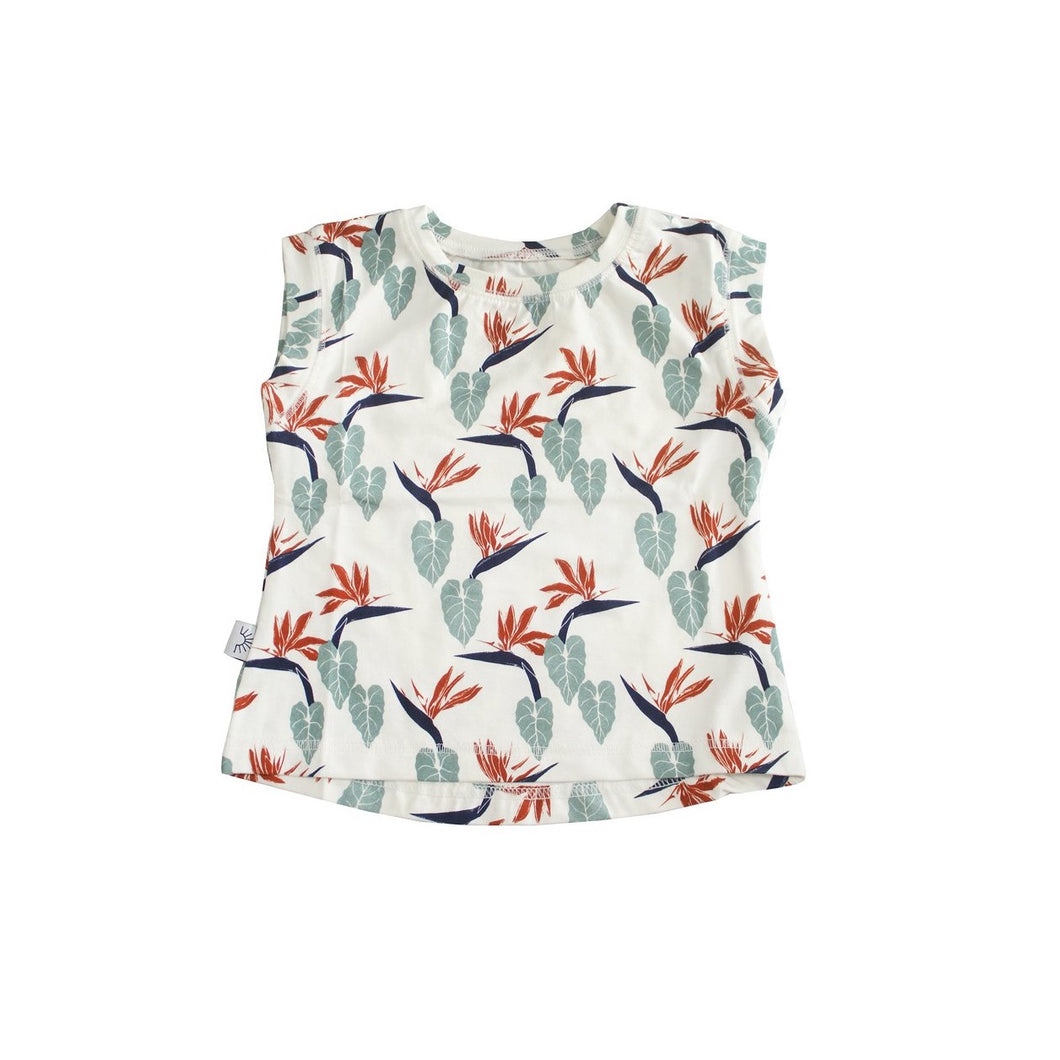 White bamboo fabric printed with tropical bird of paradise. Designed in Hawaii. Made in Bali