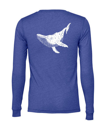Blue unisex long sleeve screen printed on back with a Maui humpback whale in white