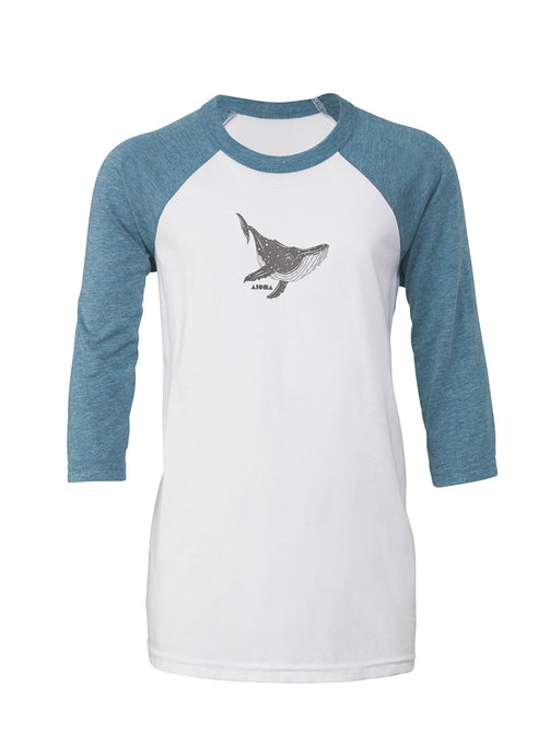 Youth baseball tee hand printed on front with metallic silver humpback whale and Aloha Shapes® logo