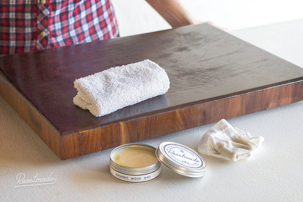 Roostmade - Cutting Board - Organic Wood Wax Instructions