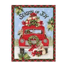 Red Truck Christmas Fabric Panel